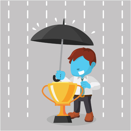 Blue businessman covering trophy with umbrella– stock illustration