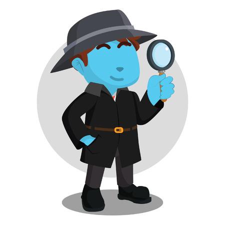 Blue spy agency holding magnifying glasses– stock illustration Çizim