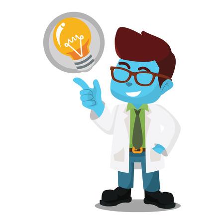 Blue scientists got idea– stock illustration Illustration