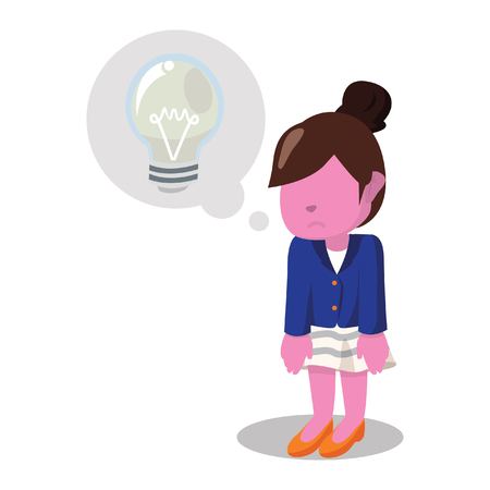 Pink businesswoman doesnt have any innovation left– stock illustration