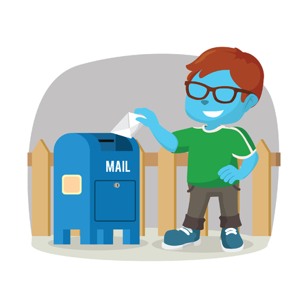 Blue boy sending mail– stock illustration Illustration