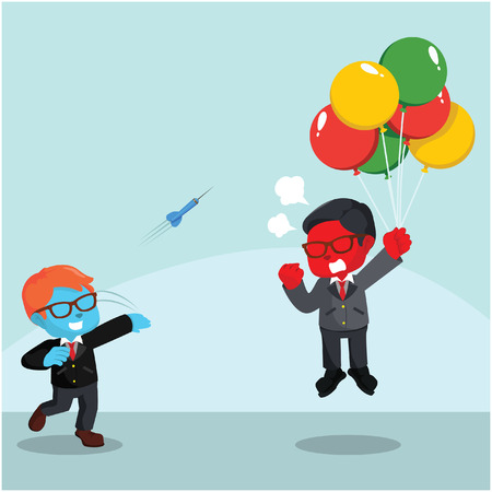 Blue businessman throwing darts to flying red businessman– stock illustration Illustration