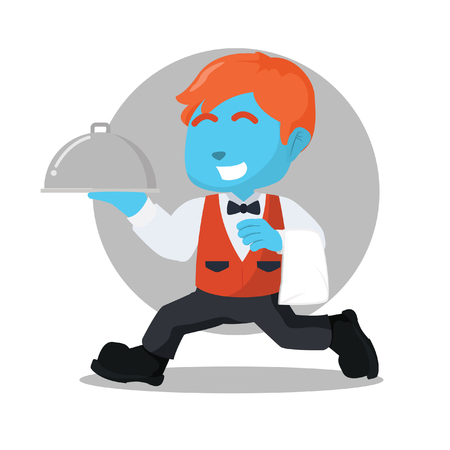 Blue waiter running holding food delivery– stock illustration