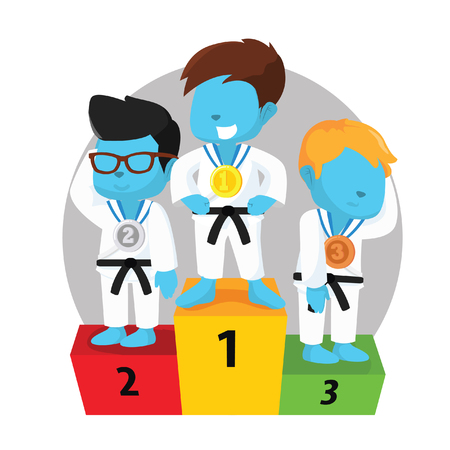 Karate competition podium– stock illustration