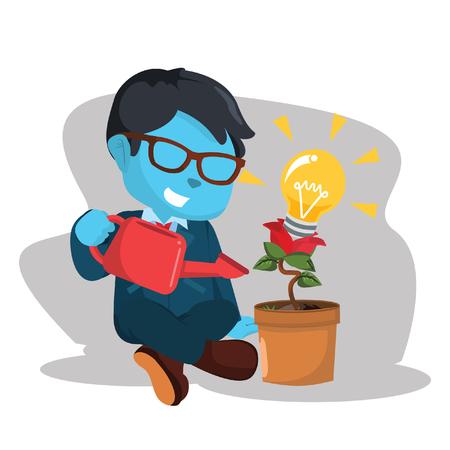 Blauwe zakenman en innovatieve plantâ ? ? stock illustratie