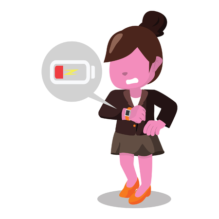 Pink businesswoman panic smartwatch low battery stock illustration.