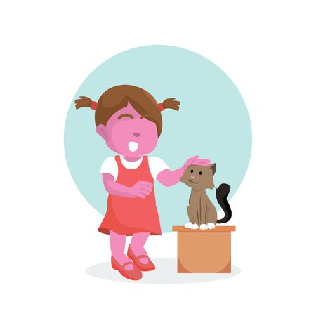 Pink girl and cat are stroke– stock illustration Ilustrace
