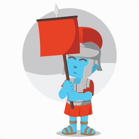 Blue roman soldier holding banner– stock illustration
