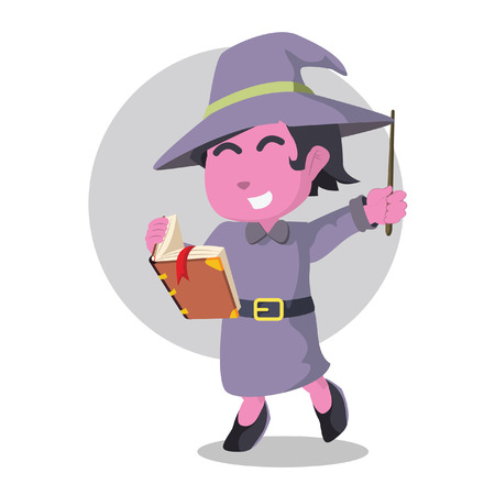 Pink witch holding tome and wand– stock illustration Illustration