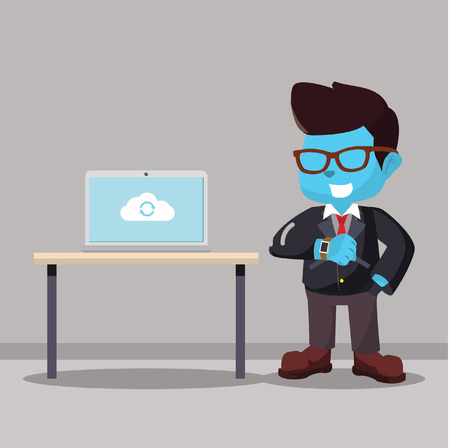 Blue businessman syncing his smart watch to laptop stock illustration.