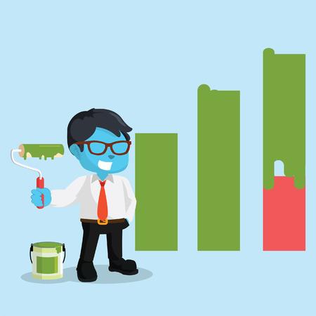 Blue businessman repainting graphic– stock illustration