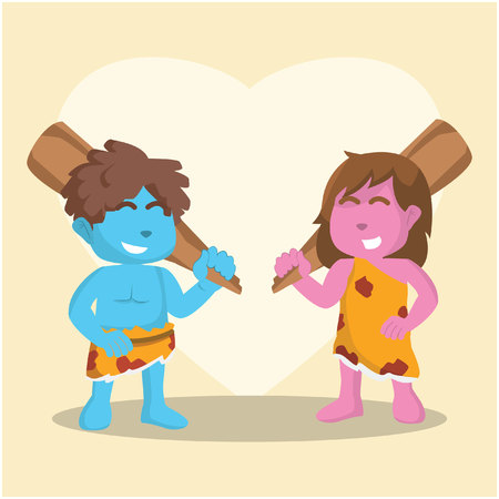 Blue and pink cave couple with holding big clubs– stock illustration Illustration