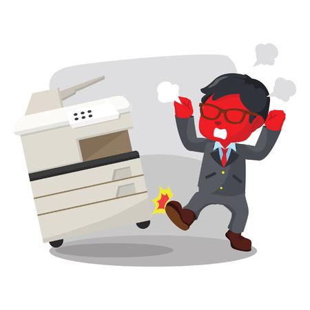 Blue businessman angry kicking photocopy machine– stock illustration Illustration