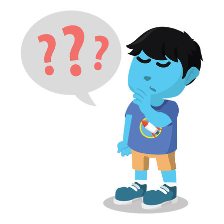 Blue boy with question marks stock illustration.