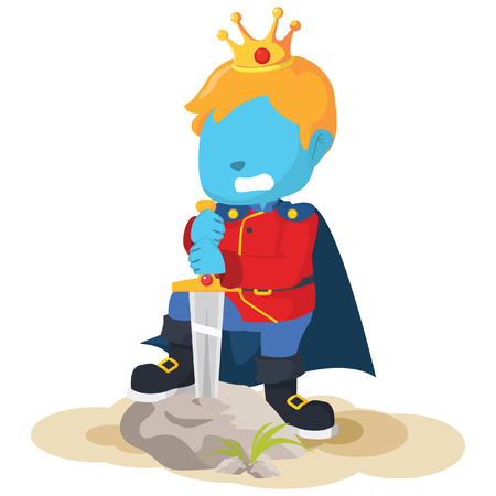 Blauwe jongensprins die het zwaard neemt - stockillustratie