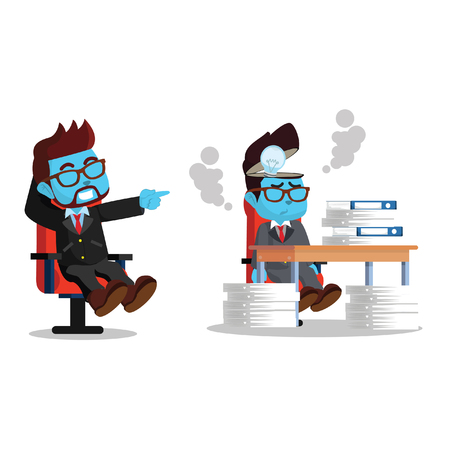 Blue businessman lazy and hard working employee– stock illustration Ilustrace