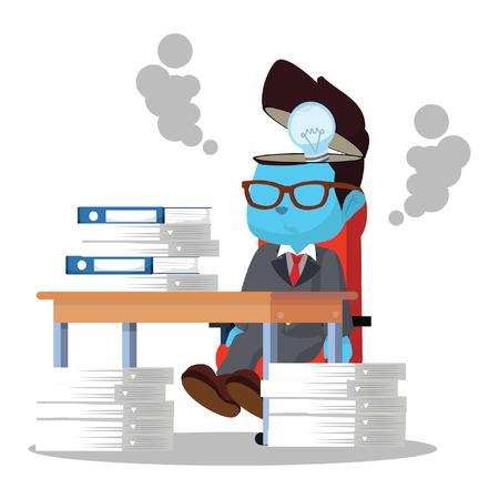 A ideia azul do homem de negócios parou de trabalhar na ilustração conservada em estoque. Ilustración de vector