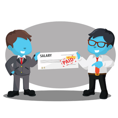 Blue businessman getting paid from his boss– stock illustration