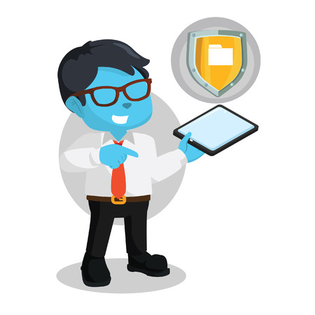 Blue businessman with phone and shield– stock illustration