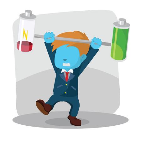 Blue businessman unbalanced battery– stock illustration