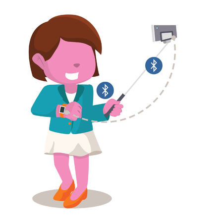 Pink businesswoman selfie with her smart watch– stock illustration