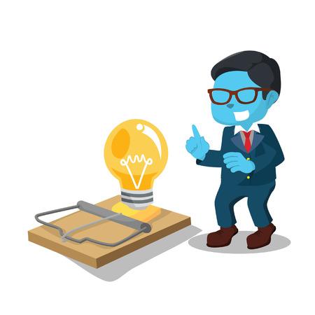 Blue businessman setting idea trap– stock illustration