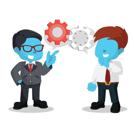 blue businessman talking about plan– stock illustration