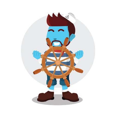 Blue sailor holding ship wheel– stock illustration