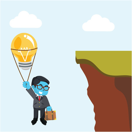 Blue businessman flying with bulb balloon from cliff– stock illustration