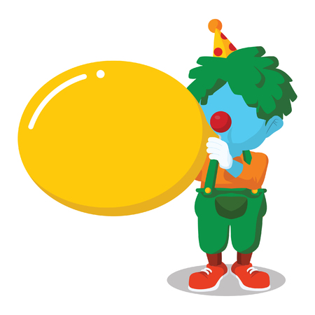 Blue clown blowing big balloon– stock illustration