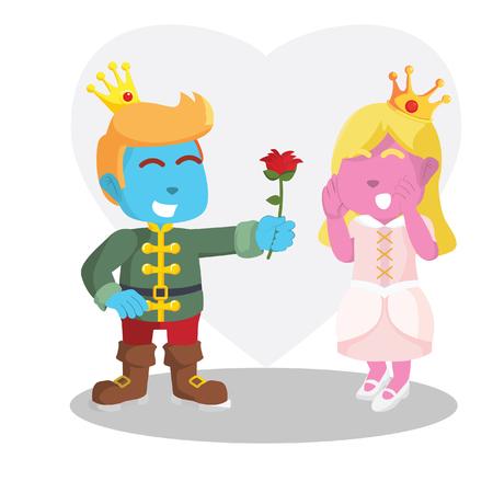Il principe blu dà il fiore all'illustrazione rosa delle azione della principessa. Archivio Fotografico - 93342537