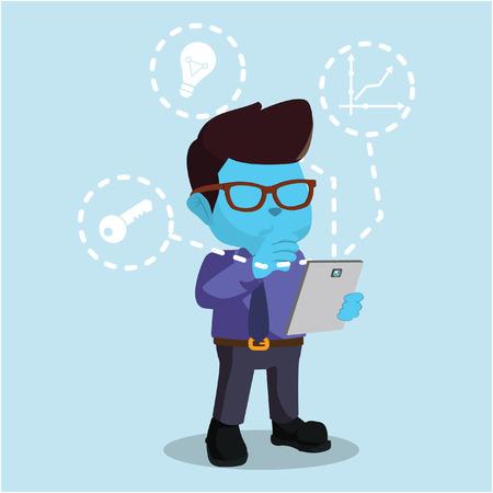 blue businessman holding tablet– stock illustration Çizim