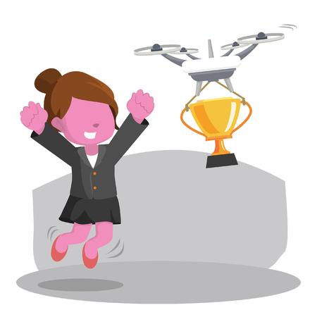De roze onderneemster krijgt haar trofee door de illustratie van de hommelvoorraad. Stock Illustratie
