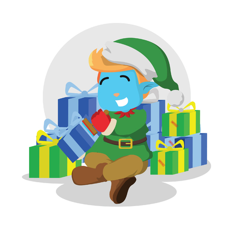 Christmas elf stamping presents– stock illustration 일러스트