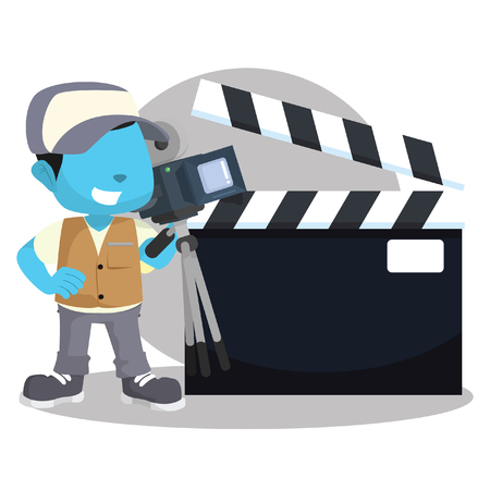 Blue boy movie cameraman with sign– stock illustration