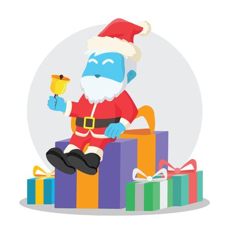 Blue santa sitting on christmas box– stock illustration