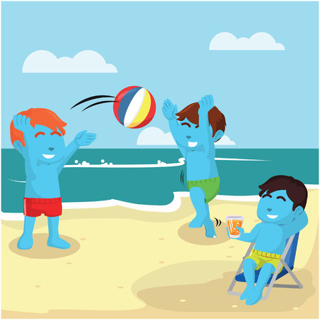 Kids playing at the beach stock illustration.
