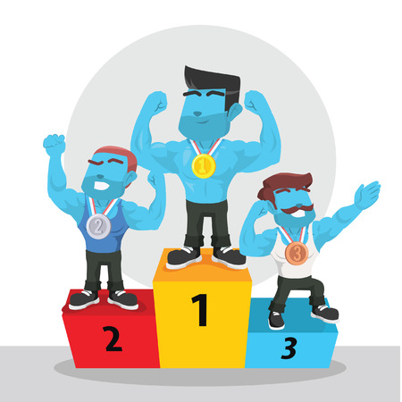 Blue body builder competition podium– stock illustration Illustration