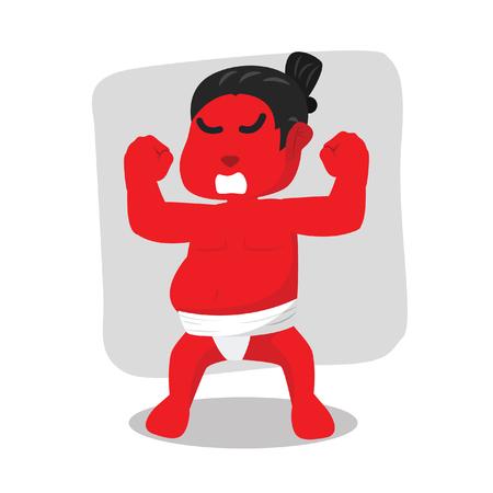 Wrestler di sumo rosso arrabbiato - illustrazione di riserva Archivio Fotografico - 93382095