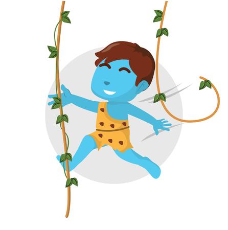 Blauwe jongen die de schommeling van de wilde manendouane gebruiken bij bosvoorraadillustratie