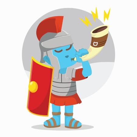 Blue roman soldier blow war horn– stock illustration