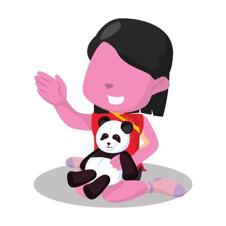 Pink Chinese girl playing with her panda doll stock illustration.