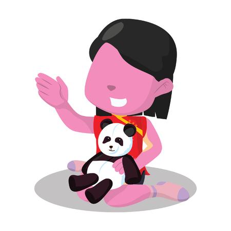 Muchacha china rosada que juega con su ejemplo de la muñeca de la panda. Foto de archivo - 93318518