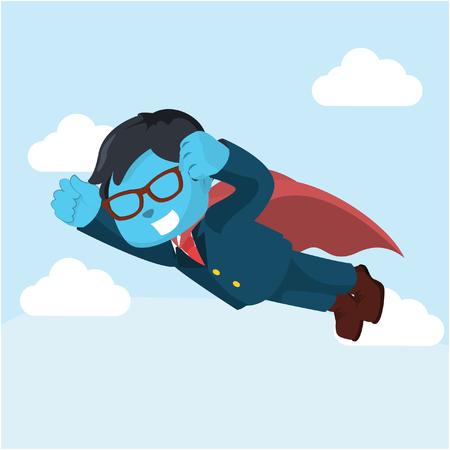 Blauwe zakelijke superheld vliegen â ? ? stockillustratie Stockfoto - 93393301