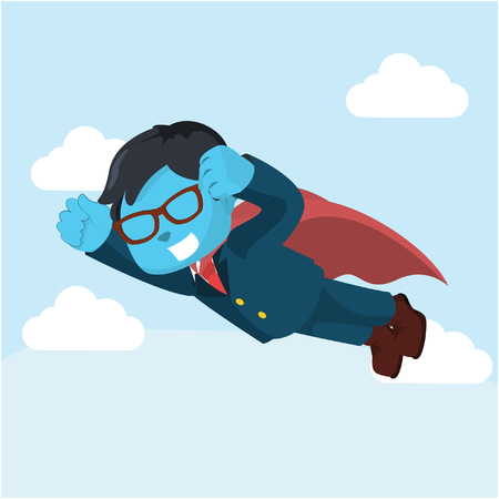 blue business superhero flying– stock illustration Çizim