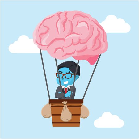 Blue businessman flying with air balloon brain– stock illustration
