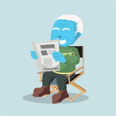 Blue old man reading news paper– stock illustration