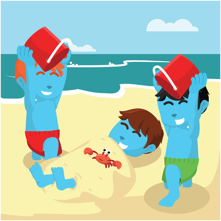 Blue boy buried his friend at the beach– stock illustration Çizim