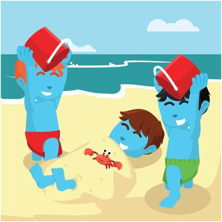 De blauwe jongen begroef zijn vriend bij de voorraadillustratie van het strand Stock Illustratie