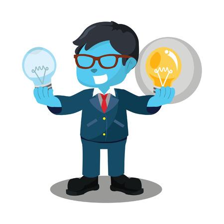 Blauwe zakenman die functionele bol en niet-functionele bulbâ ? ? stockillustratie houdt